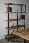 Industrial wooden bookrack - Click photo for more details