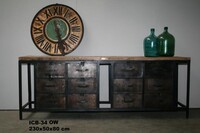Industrial work sideboard with 12 drawer - Click photo for more details